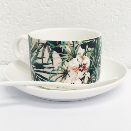 Pattern floral tropical 001 - personalised cup and saucer by MMarta BC