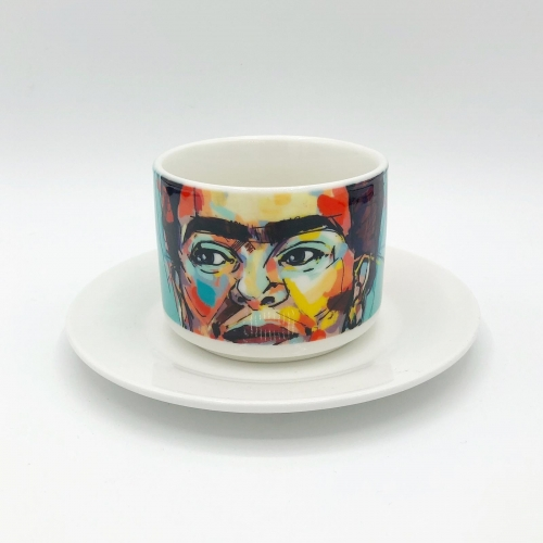 Sassy Frida - personalised cup and saucer by Laura Selevos