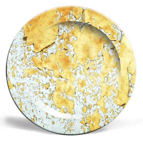 Gold - ceramic dinner plate by Uma Prabhakar Gokhale
