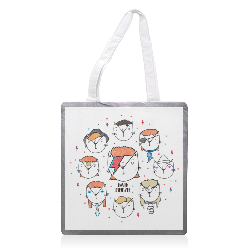 David Meowie - The 9 Lives Of - printed tote bag by Katie Ruby Miller