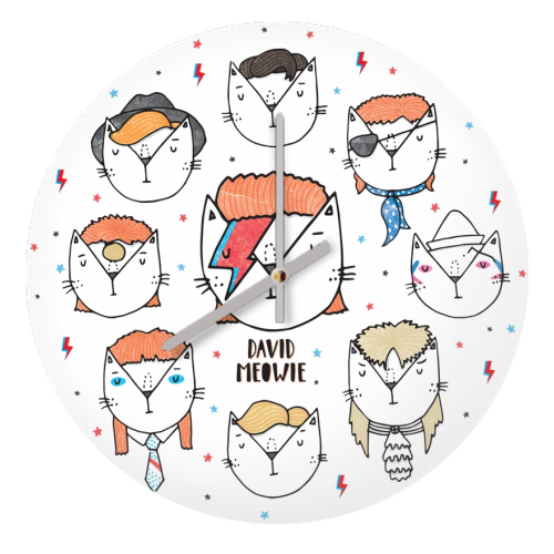 David Meowie - The 9 Lives Of - creative clock by Katie Ruby Miller