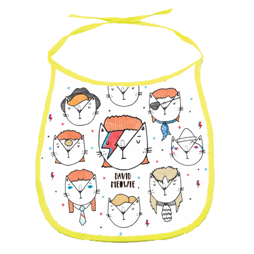 David Meowie - The 9 Lives Of - funny baby bib by Katie Ruby Miller