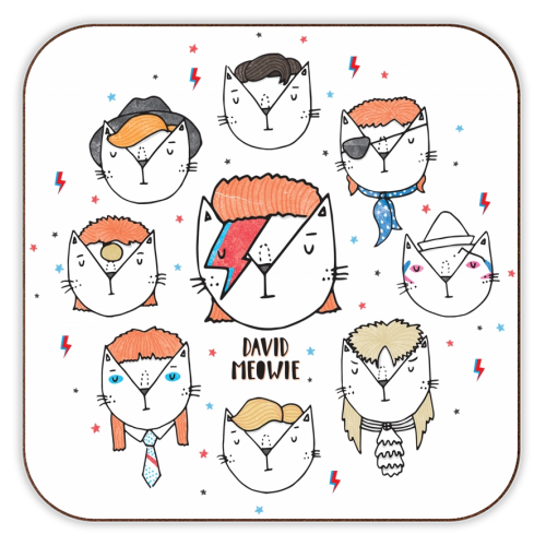 David Meowie - The 9 Lives Of - personalised drink coaster by Katie Ruby Miller