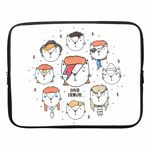 David Meowie - The 9 Lives Of - designer laptop sleeve by Katie Ruby Miller