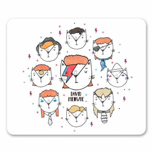 David Meowie - The 9 Lives Of - personalised mouse mat by Katie Ruby Miller
