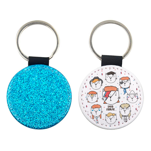 David Meowie - The 9 Lives Of - personalised picture keyring by Katie Ruby Miller