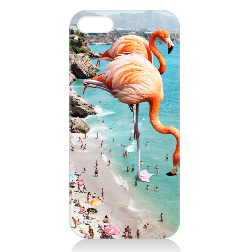 Flamingos on the Beach - unique phone case by Uma Prabhakar Gokhale