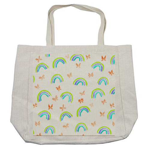Rainbows and butterflies - cool beach bag by Michelle Walker