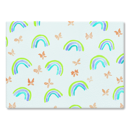 Rainbows and butterflies - glass chopping board by Michelle Walker