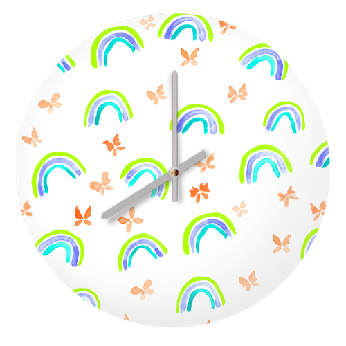 Rainbows and butterflies - creative clock by Michelle Walker