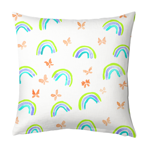Rainbows and butterflies - designed cushion by Michelle Walker