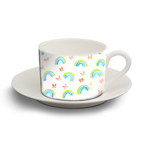 Rainbows and butterflies - personalised cup and saucer by Michelle Walker