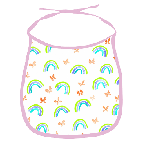 Rainbows and butterflies - funny baby bib by Michelle Walker