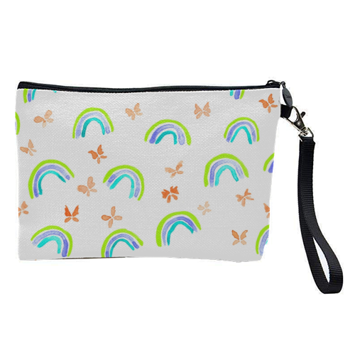 Rainbows and butterflies - pretty makeup bag by Michelle Walker