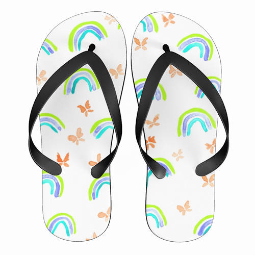 Rainbows and butterflies - funny flip flops by Michelle Walker