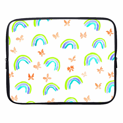 Rainbows and butterflies - designer laptop sleeve by Michelle Walker