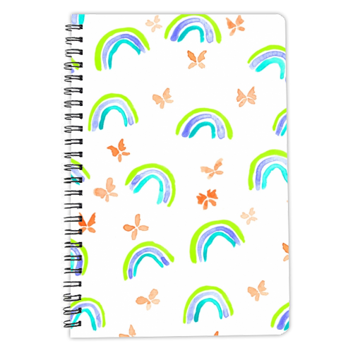 Rainbows and butterflies - designed notebook by Michelle Walker