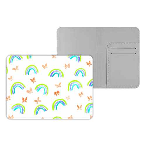 Rainbows and butterflies - designer passport cover by Michelle Walker