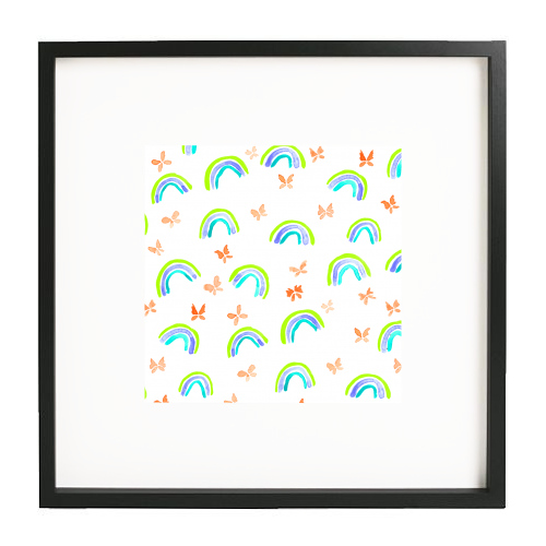 Rainbows and butterflies - printed framed picture by Michelle Walker