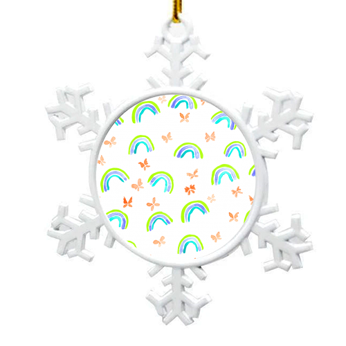 Rainbows and butterflies - snowflake decoration by Michelle Walker