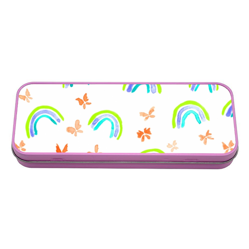 Rainbows and butterflies - tin pencil case by Michelle Walker