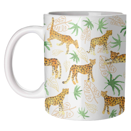 Jungle Leopards - unique mug by Michelle Walker