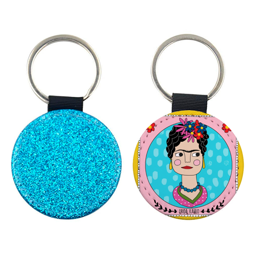 Frida Coaster - personalised leather keyring by Nichola Cowdery