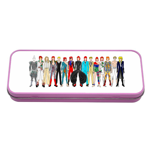 David Bowie Fashion - tin pencil case by Notsniw Art