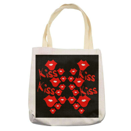 Kiss Kiss - printed tote bag by Jayne Kemish