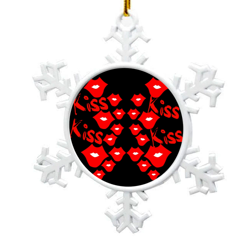 Kiss Kiss - snowflake decoration by Jayne Kemish