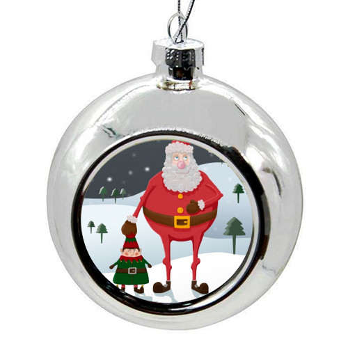 When I think of you, I touch my elf. - colourful christmas bauble by Hannah Hill