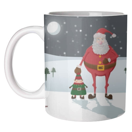 When I think of you, I touch my elf. - unique mug by Hannah Hill