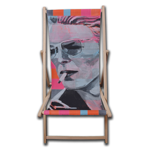 Neon Bowie - canvas deck chair by Kirstie Taylor
