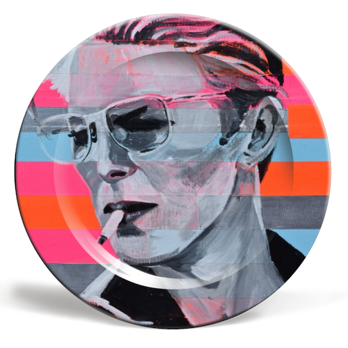 Neon Bowie - ceramic dinner plate by Kirstie Taylor