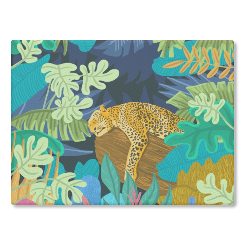 Sleeping Panther - glass chopping board by Uma Prabhakar Gokhale