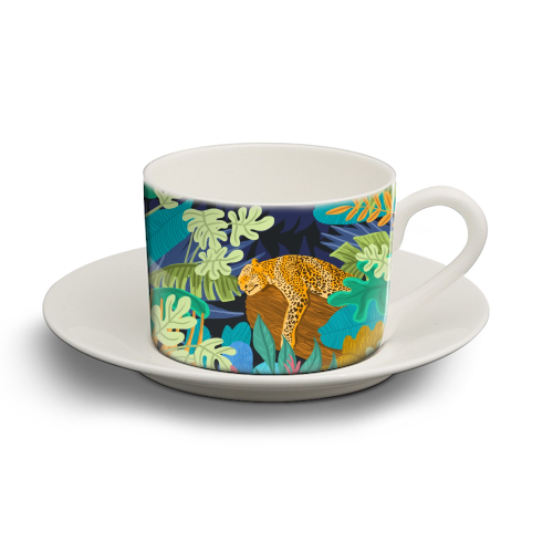 Sleeping Panther - personalised cup and saucer by Uma Prabhakar Gokhale