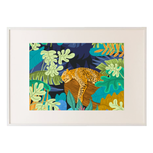 Sleeping Panther - printed framed picture by Uma Prabhakar Gokhale