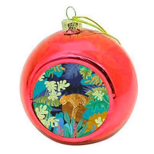 Sleeping Panther - colourful christmas bauble by Uma Prabhakar Gokhale