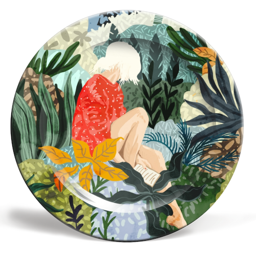 The Distracted Reader - ceramic dinner plate by Uma Prabhakar Gokhale