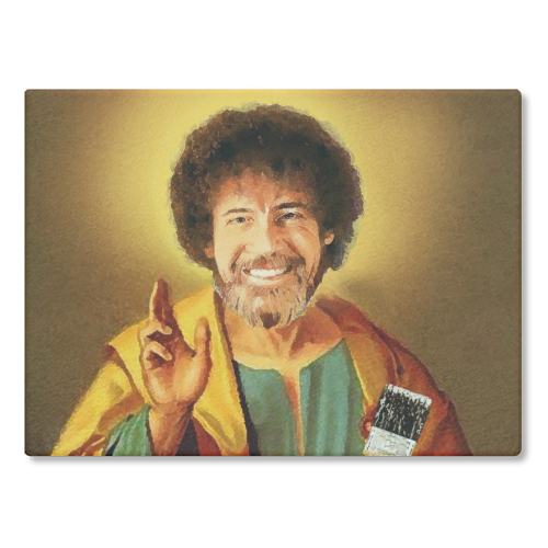 Patron Saint Of Chill - Bob Ross - glass chopping board by Wallace Elizabeth