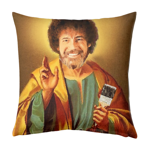 Patron Saint Of Chill - Bob Ross - designed cushion by Wallace Elizabeth