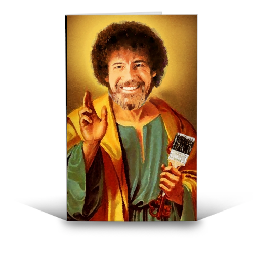 Patron Saint Of Chill - Bob Ross - funny greeting card by Wallace Elizabeth
