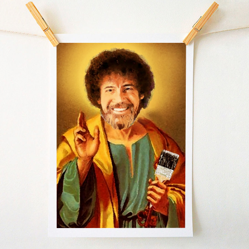 Patron Saint Of Chill - Bob Ross - original print by Wallace Elizabeth