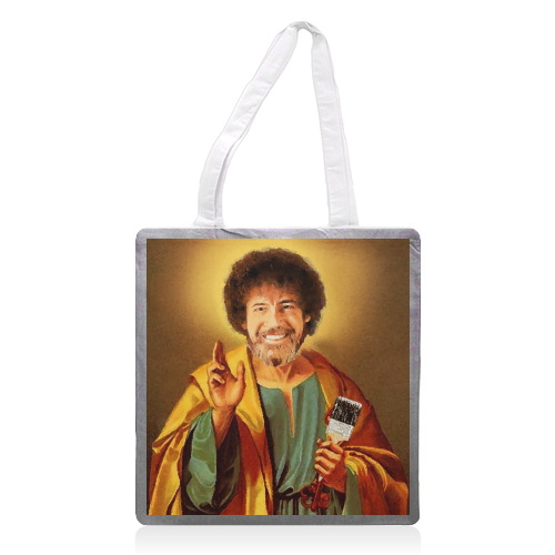 Patron Saint Of Chill - Bob Ross - printed tote bag by Wallace Elizabeth