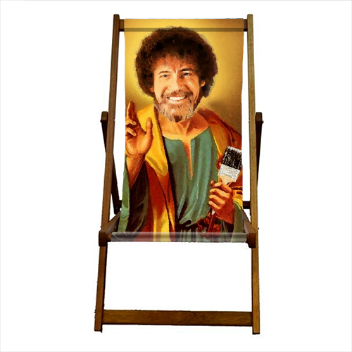Patron Saint Of Chill - Bob Ross - canvas deck chair by Wallace Elizabeth