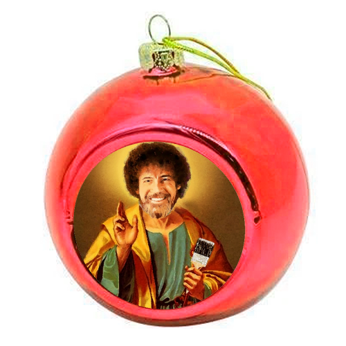 Patron Saint Of Chill - Bob Ross - colourful christmas bauble by Wallace Elizabeth