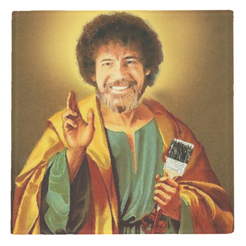 Patron Saint Of Chill - Bob Ross - personalised drink coaster by Wallace Elizabeth