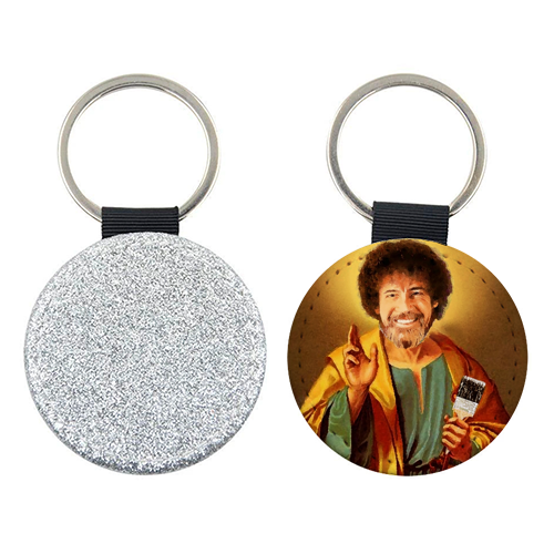 Patron Saint Of Chill - Bob Ross - personalised picture keyring by Wallace Elizabeth