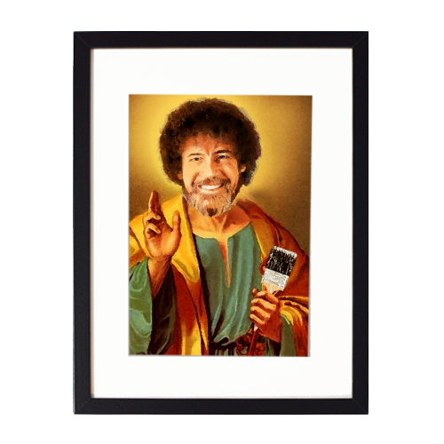 Patron Saint Of Chill - Bob Ross - printed framed picture by Wallace Elizabeth
