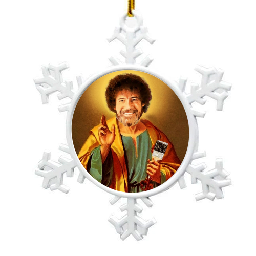 Patron Saint Of Chill - Bob Ross - snowflake decoration by Wallace Elizabeth